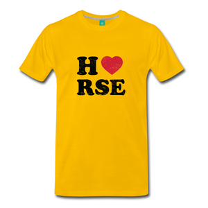Men's Horse Large Letters T-Shirt - sun yellow