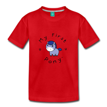 Load image into Gallery viewer, Kids' My First Pony T-Shirt (blue patch) - red