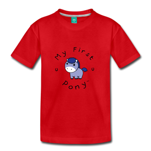 Kids' My First Pony T-Shirt (blue patch) - red