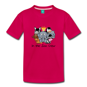Toddler In the Zoo Crew T-Shirt - dark pink