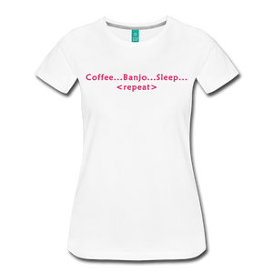 Women's Coffee Banjo Sleep Repeat T-Shirt - white