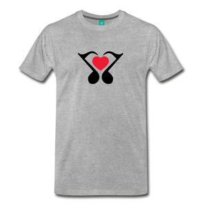 Men's Heart Music Note T-Shirt - heather gray