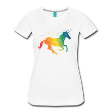 Load image into Gallery viewer, Women's Rainbow Unicorn T-Shirt - white
