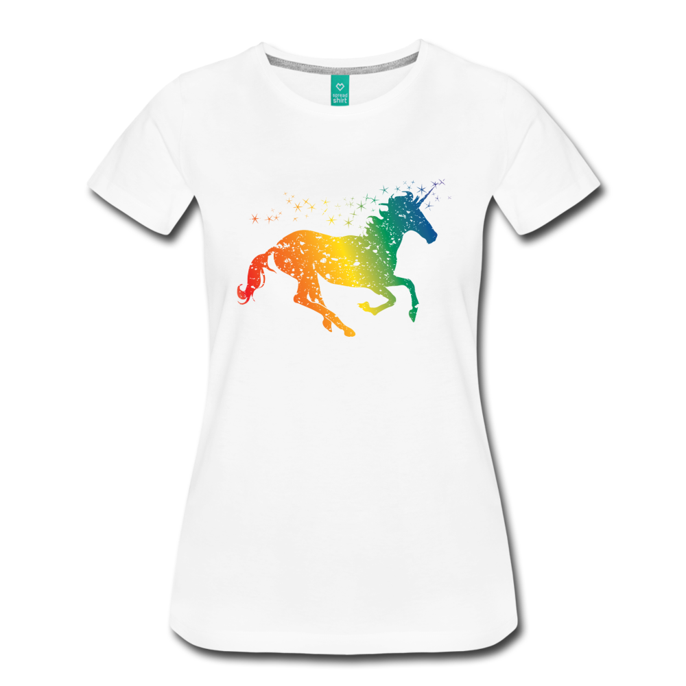 Women's Rainbow Unicorn T-Shirt - white