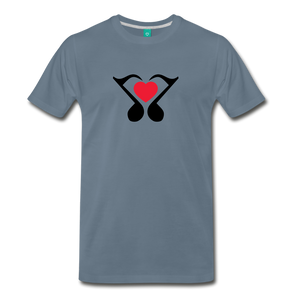 Men's Heart Music Note T-Shirt - steel blue