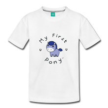 Load image into Gallery viewer, Kids' My First Pony T-Shirt (blue patch) - white