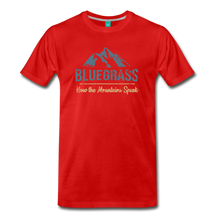Load image into Gallery viewer, Men's Bluegrass Mountains Speak T-Shirt - red