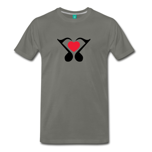 Men's Heart Music Note T-Shirt - asphalt