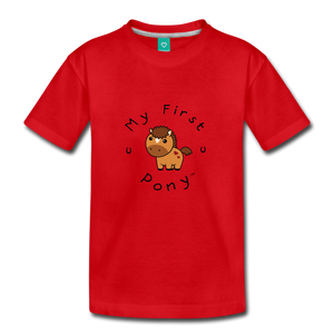 Toddler My First Pony T-Shirt (light brown) - red