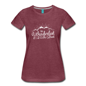 Women's Wanderlust T-Shirt (white) - heather burgundy