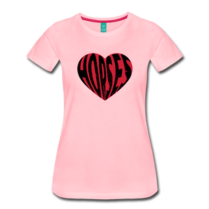 Women's Big Heart Horse T-Shirt - pink