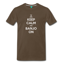 Load image into Gallery viewer, Men's Keep Calm and Banjo On T-Shirt - noble brown