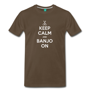 Men's Keep Calm and Banjo On T-Shirt - noble brown