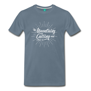 Men's Mountain Calling T-Shirt (white) - steel blue