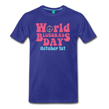 Load image into Gallery viewer, Men's 60s-Retro World Bluegrass Day T-Shirt - royal blue