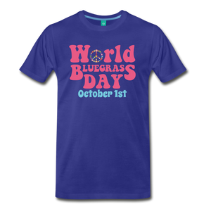 Men's 60s-Retro World Bluegrass Day T-Shirt - royal blue