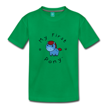 Load image into Gallery viewer, Kids' My First Pony T-Shirt (blue) - kelly green