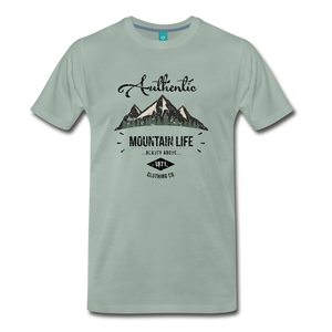 Men's Dark Authentic Mountain Life Clothing Co. T-Shirt - steel green