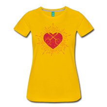 Load image into Gallery viewer, Women's Sunburst Heart Banjo T-Shirt - sun yellow