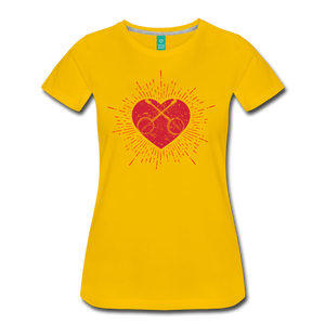 Women's Sunburst Heart Banjo T-Shirt - sun yellow