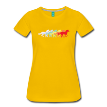 Load image into Gallery viewer, Women's Retro Rainbow Horse T-Shirt - sun yellow