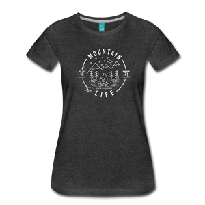 Women's Distressed Mountain Life T-Shirt - charcoal gray