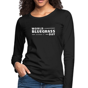 Women's White World Bluegrass Day Long Sleeve T-Shirt - black