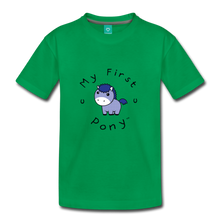 Load image into Gallery viewer, Kids' My First Pony T-Shirt (blue patch) - kelly green