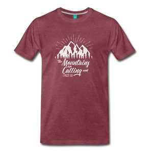 Men's Mountains T-Shirt (white) - heather burgundy