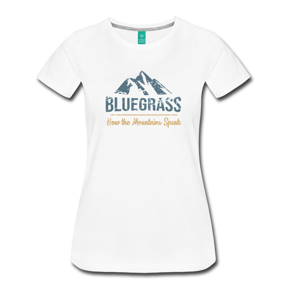 Women's Bluegrass Mountains Speak T-Shirt - white