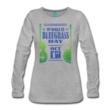 Load image into Gallery viewer, Women's Faded Blue/Green World Bluegrass Day Long Sleeve Shirt - heather gray