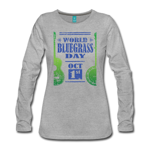 Women's Faded Blue/Green World Bluegrass Day Long Sleeve Shirt - heather gray