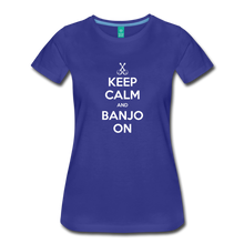 Load image into Gallery viewer, Women's Keep Calm Banjo On T-Shirt - royal blue