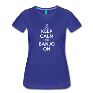 Women's Keep Calm Banjo On T-Shirt - royal blue