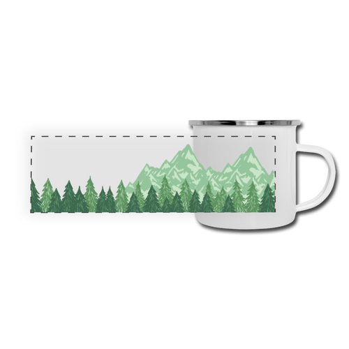 Mountains and Evergreen Trees Camper Mug - white