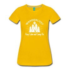 Load image into Gallery viewer, Women's Keep Calm, Camp On (white) - sun yellow