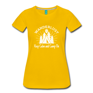 Women's Keep Calm, Camp On (white) - sun yellow