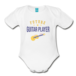 Future Guitar Player Baby Bodysuit - white
