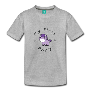 Toddler My First Pony T-Shirt (lilac patch) - heather gray