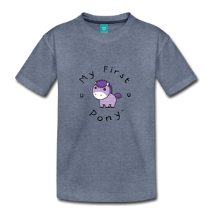Toddler My First Pony T-Shirt (lilac patch) - heather blue