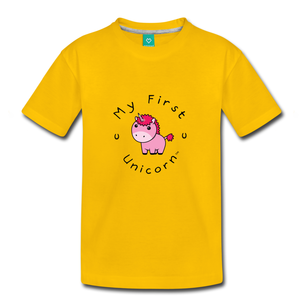 Toddler My First Unicorn T-Shirt (pink) - sun yellow