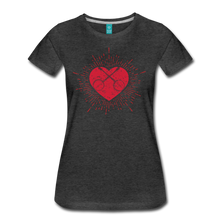 Load image into Gallery viewer, Women's Sunburst Heart Banjo T-Shirt - charcoal gray