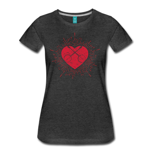 Women's Sunburst Heart Banjo T-Shirt - charcoal gray
