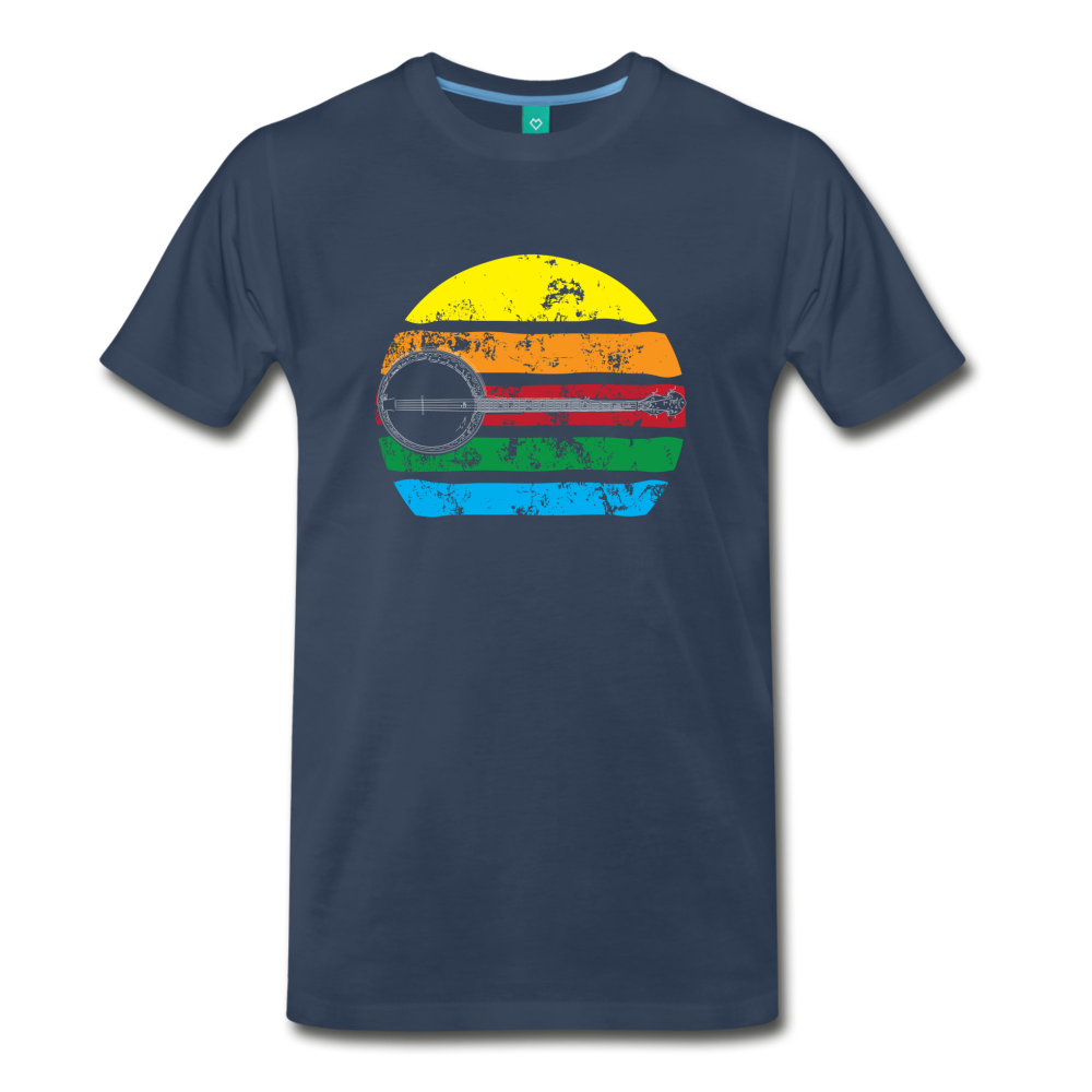 Men's Faded Banjo Rainbow T-Shirt - navy