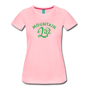 Women's Mountain Life (script) T-Shirt - pink