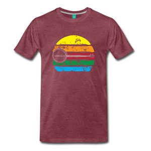 Men's Faded Banjo Rainbow T-Shirt - heather burgundy