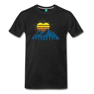 Men's Mountains Sun Heart T-Shirt - black