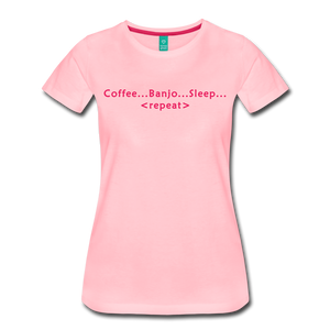 Women's Coffee Banjo Sleep Repeat T-Shirt - pink