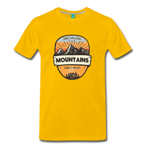 Men's Mountain's Calling T-Shirt - sun yellow
