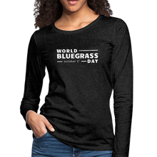 Load image into Gallery viewer, Women's White World Bluegrass Day Long Sleeve T-Shirt - charcoal gray